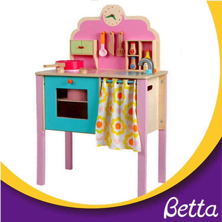 Wooden Pretend Kitchen Toy Safe Kids Playset