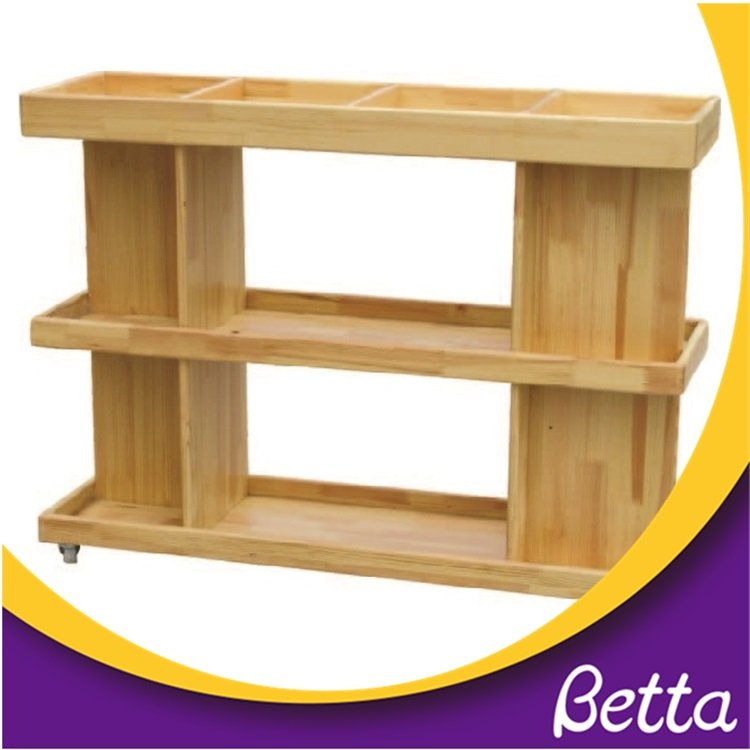 Kindergarten classroom multi-layer pine wood kids bookshelf