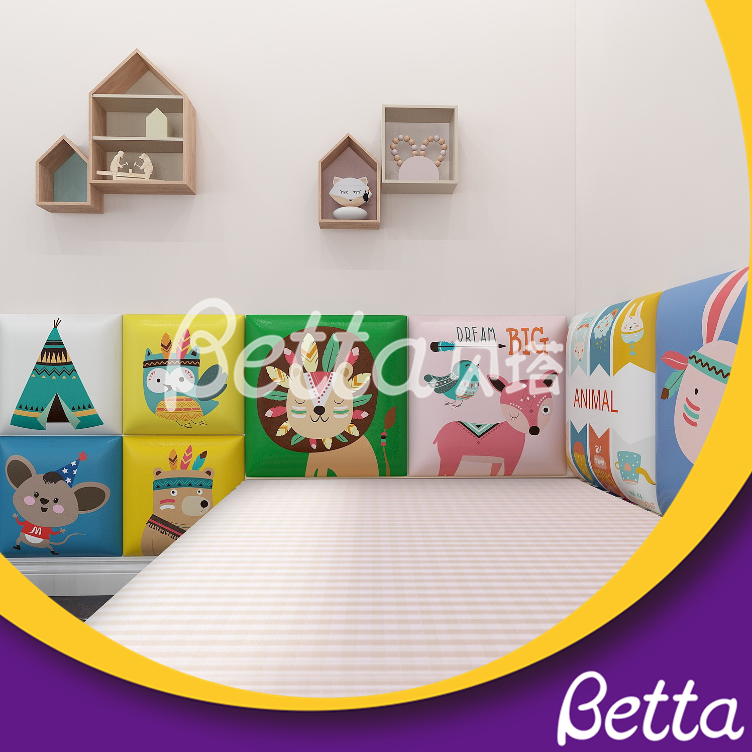 Children Animal Wall Colorful Soft Wall for Indoor Playground safety Play