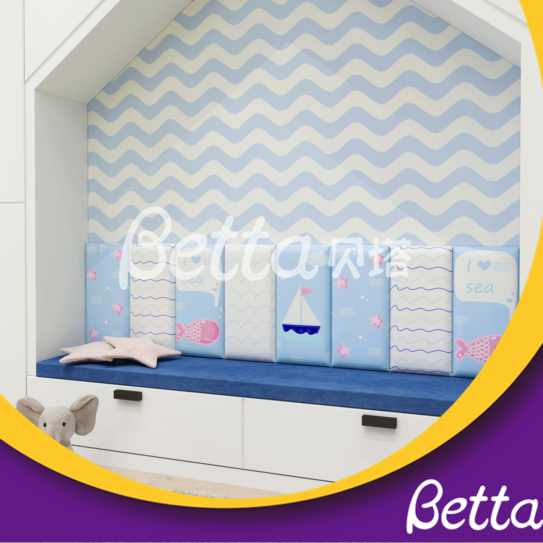 Colorful Soft Wall Customized Sea World Wall for Kids Room Playground